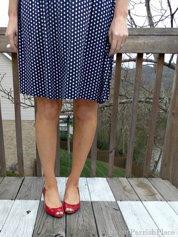 navy polka dot dress, red peep toe wedges1