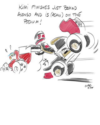 Кими Райкконен позади Фернандо Алонсо - комикс Cirebox по Гран-при Испании 2012