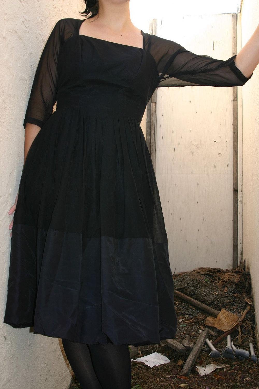 Vintage 1950s - Black Dress