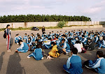 Starting pep talk at the beginning of the marathon walk in Teradomari, October 2001.