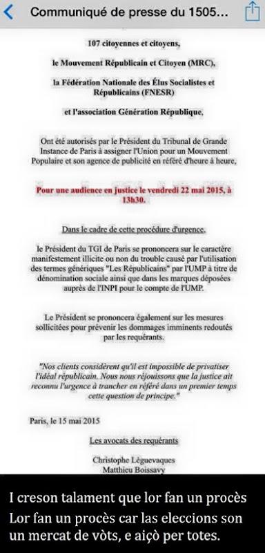 comunicat de premsa justícia contra l'emplec del mot Les républicains