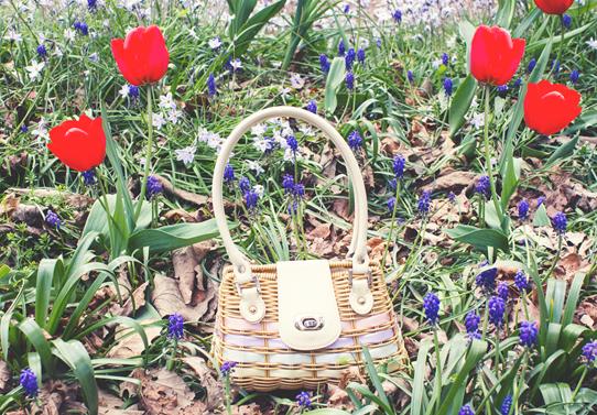 Rainbow ribbon wicker purse and wild woodland flowers | Lavender & Twill