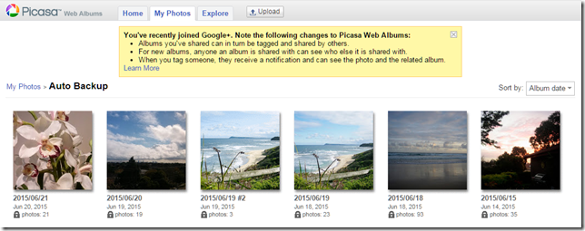 A picasa web album view of my photos