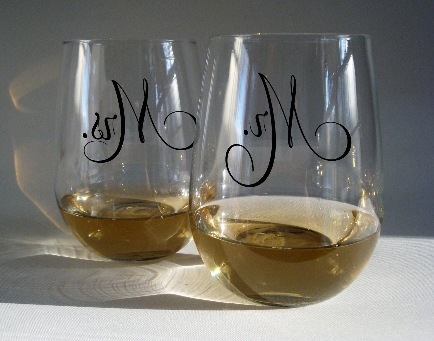 Stemless Wine Glasses - Mr and