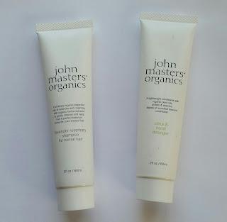 John Masters Organics Lavender Rosemary Shampoo and Citrus & Neroli Detangler.