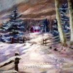 Pistes dans la neige, pastel sec, 16 x 12 po.