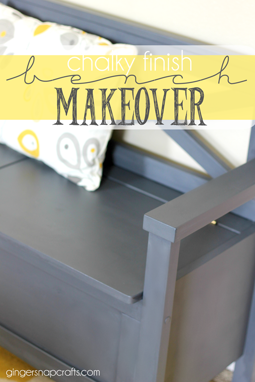 chalky finish bench makeover with #DecoArt #gingersnapcrafts