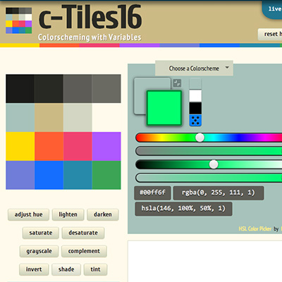 screenshot of c-Tiles16, colorscheming with variables