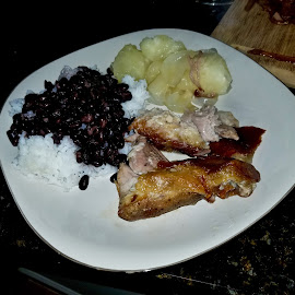 Cuban Roast Pork with Yuca by Michael Villecco - Food & Drink Plated Food ( cuban, yuca, beans, pork, roasted )