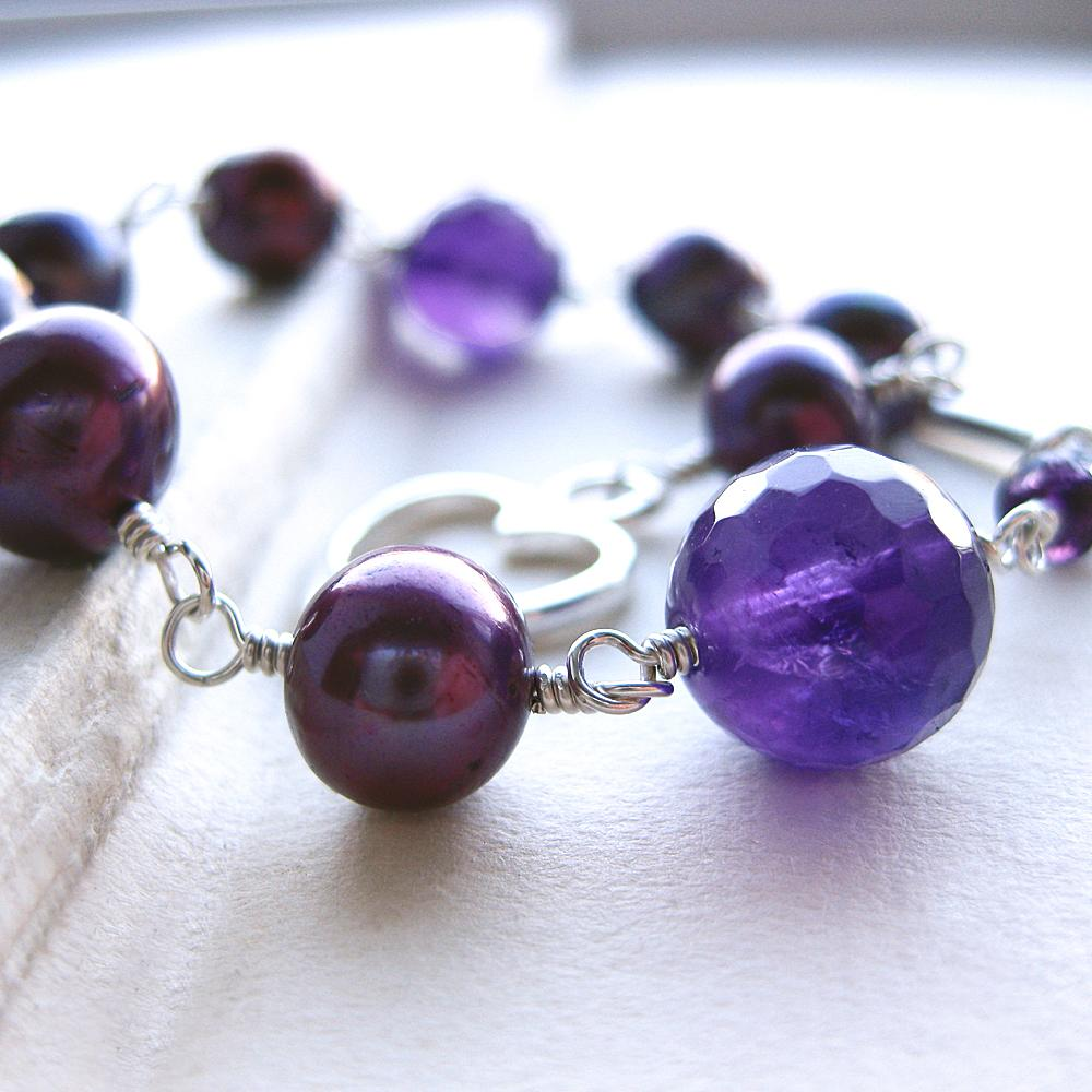 and plum pearl beads with