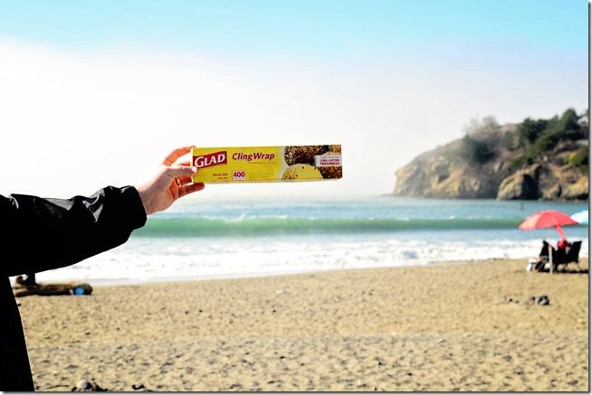 Saran wrap at the beach