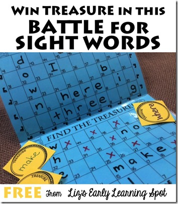 Battle for Sight Words Game - what a fun, clever FREE printable game to help kids practice dolche sight words! Perfect for Kindergarten, 1st grade, 2nd grade, and 3rd grade students and homeschoolers.