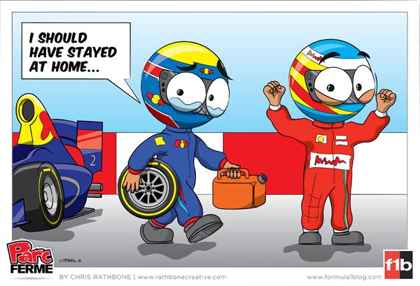 расстроенный Марк Уэббер и празднующий Фернандо Алонсо - комикс Chris Rathbone по Гран-при Китая 2013