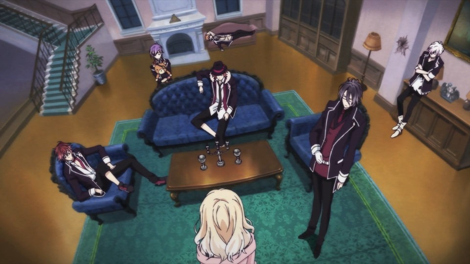 A wide crooked shot overhead Yui as she confronts the entire group in a fancy lounge area of the mansion