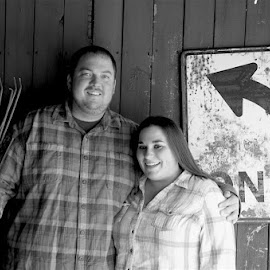 Only Two by Mike DeLong - People Couples ( sign, farm, rake, plaid, engagement )