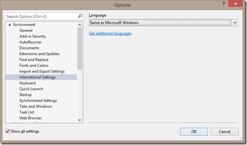 visual-studio-language-settings