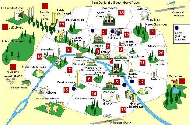 Mapa de Paris con monumentos famosos