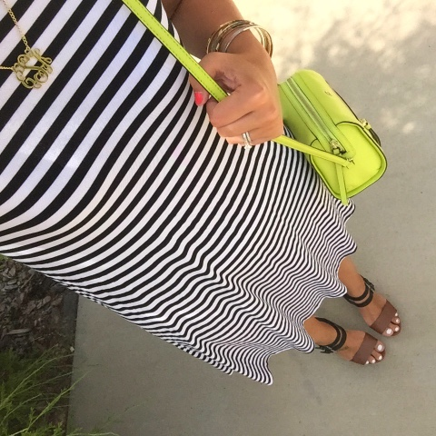 monogram, fashion, style, kate spade, preppy, i love jewelry, striped dress