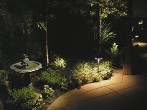 Fountain accent and soft Path Lighting to create safety and beauty- Newport Coast CA