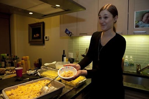 Alison shows off her macaroni and cheese