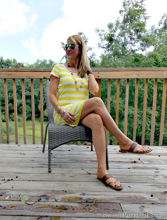 yellow striped shirt dress4