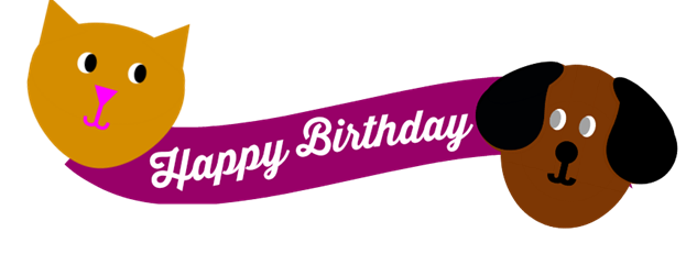 Cat and Dog Party Birthday Cake Banner