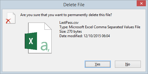 Permanently deleted the CSV file