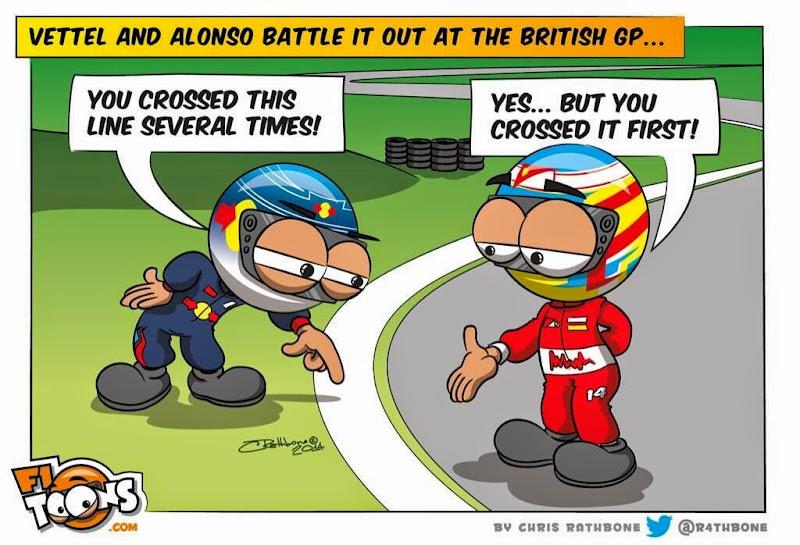 Себастьян Феттель и Фернандо Алонсо спорят о белой линии - комикс Chris Rathbone по Гран-при Великобритании 2014