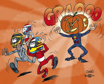 Себастьян Феттель хэллоуин-монстр - комикс Cirebox перед Гран-при Абу-Даби 2013
