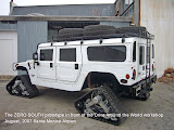 A Hummer H1, with partially complete modifications for an expedition to the South Pole.