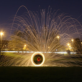 Steelwool fun by Rich Buxton - Abstract Light Painting ( light painting, spinning, steel wool, spin, steel, wool, light )
