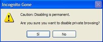 Incognito Gone conferma disattivazione navigazione in incognito Chrome e IE