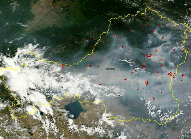 Satellite view of smoke from wildfires in the Tuva Republic of Sibera, 4 July 2015. Photo: The Siberian Times
