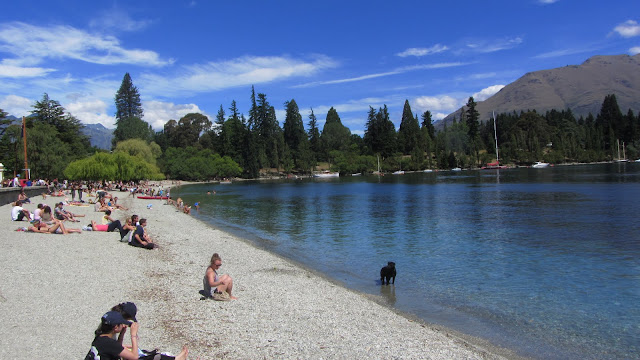 Queenstown's freezing cold lake and beach.