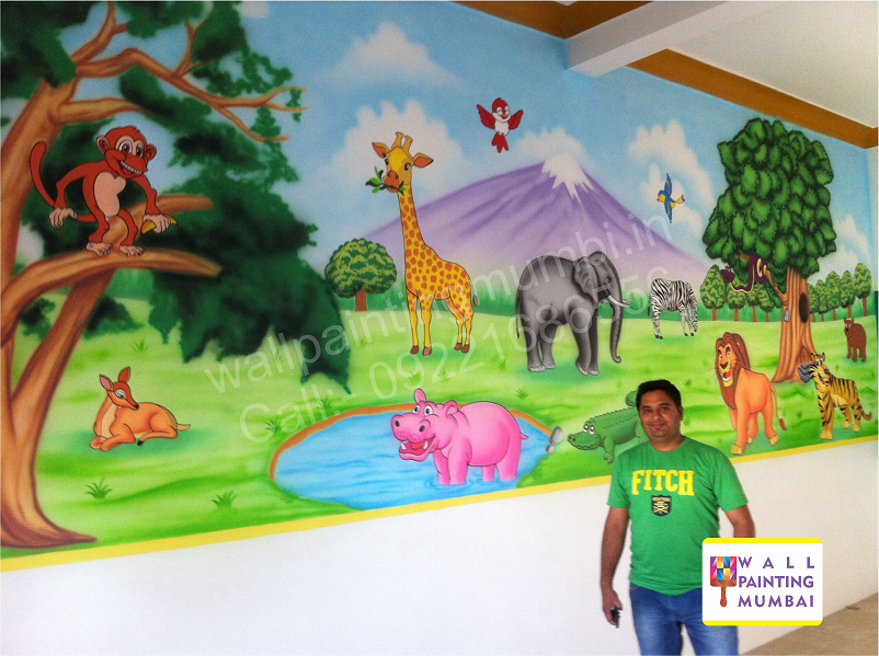 Wall Art For Play School : School wall painting