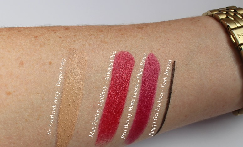 No7-Airbrush-Away-Deeply-Ivory-swatch,MaxFactorLipfinity-AlwaysChic-swatch,Pixi-Beauty-Matte-Lustre-Lipstick-PlumBerry