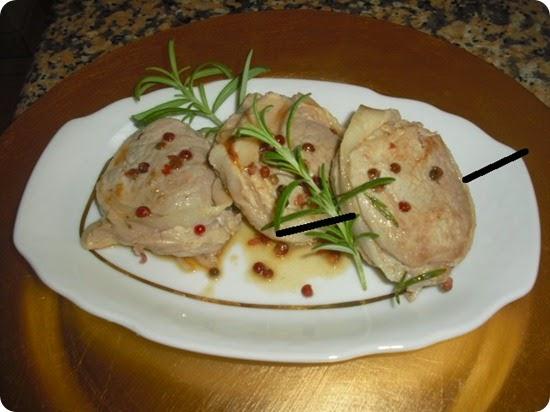 Filetto di maiale al tè verde, melanzane agrodolci e crema di patate e rosmarino