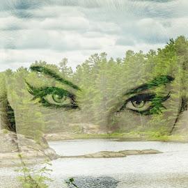 All eyes on you  by Kathryn Potempski - Digital Art People ( portraiture, potrait, double exposure, portrait photographers, portraits of women, landscape, eyes )