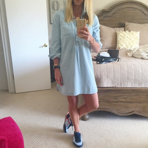 parlor girl denim shirtdress and sneakers