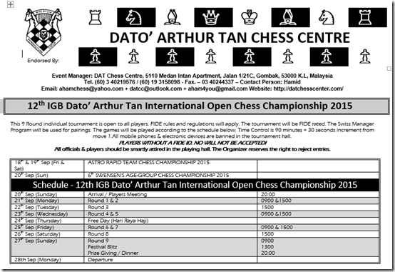 12th IGB Dato' Arthur Tan International Open Chess Ch 2015