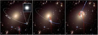 ilustração da criação de uma galáxia fugitiva