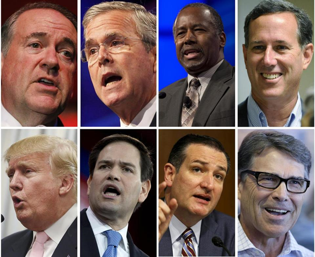 Republican presidential hopefuls in 2015. Top from left: Mike Huckabee, Jeb Bush, Ben Carson, Rick Santorum. Bottom from left: Donald Trump, Marco Rubio, Ted Cruz, and Rick Perry. Photo: AP / file photos