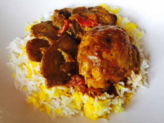 Persian aubergine, tomato and eggplant stew with rice