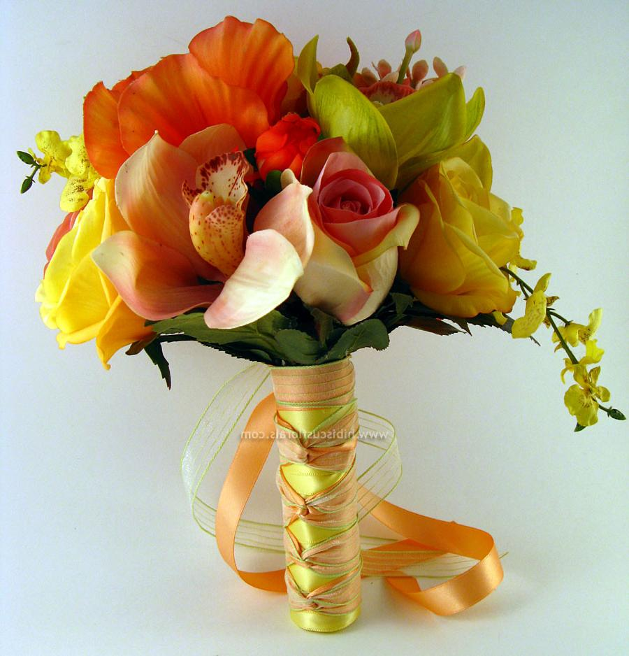 Coral Hibiscus & Green Cymbidium Orchids Bridal Real Touch Bouquet