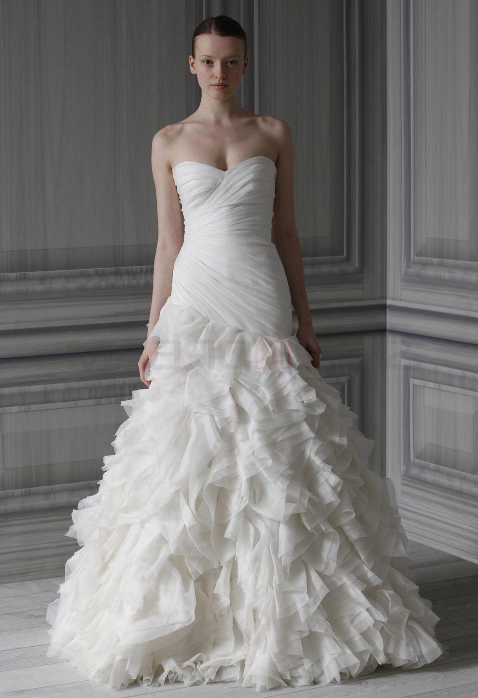 Dropped sweetheart draped tiered organza long white wedding dress