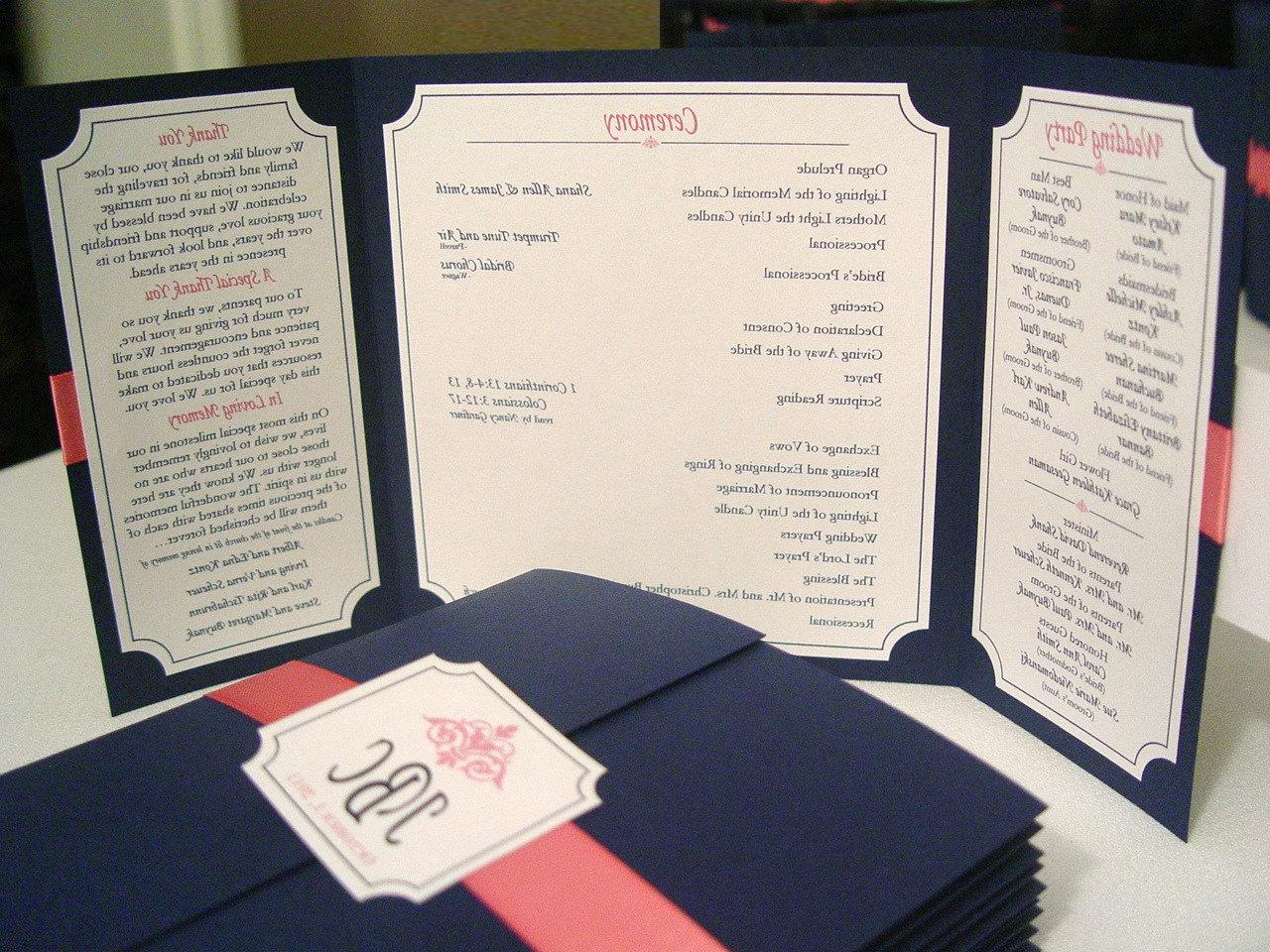 The Katherine - Beautiful Custom Designed Gate-fold Wedding Program with