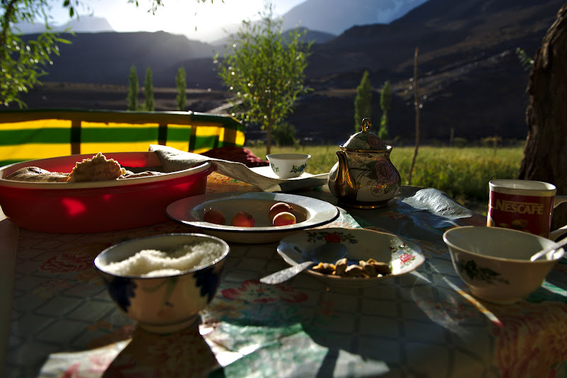 The dinner overlooking 7000 meter mountains.