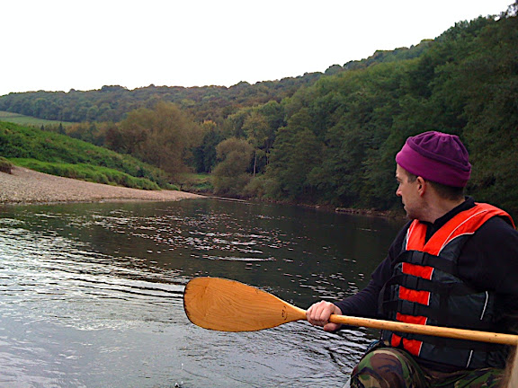 Back on the water, Hawkeye looks back to check again that we left 'no trace' from our camp - this is essential, leave nothing...