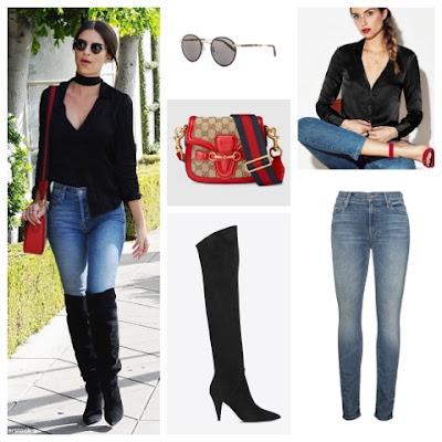 Emily Ratajkowski Street Style in Saint Laurent Knee High Boots