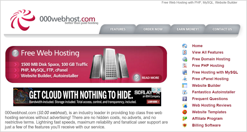 The 000webhost home page